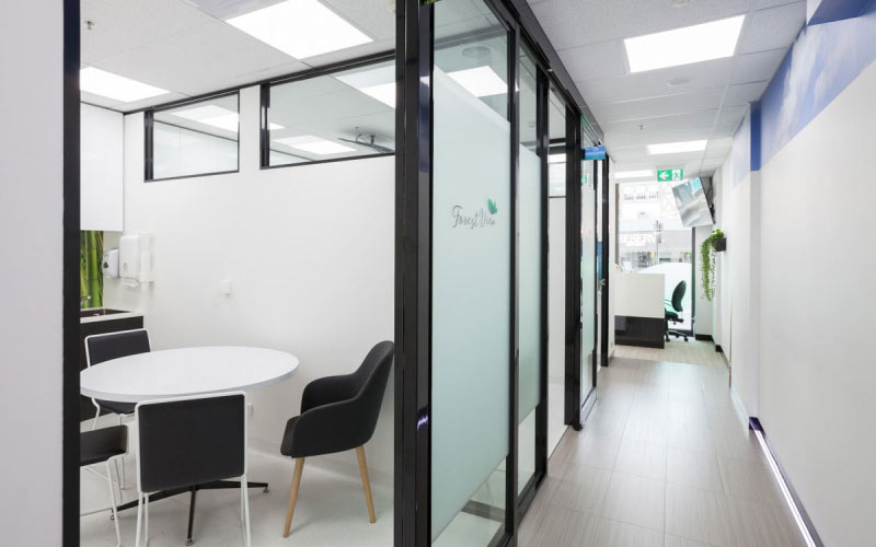 glass partition walls